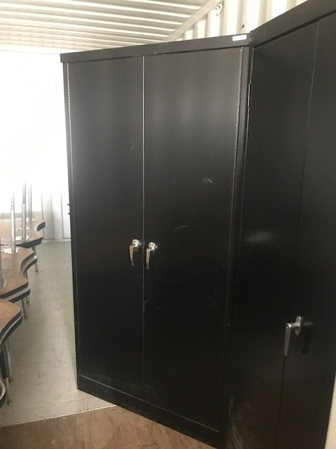 2 Tall black metal cabinets 6ftx3ft