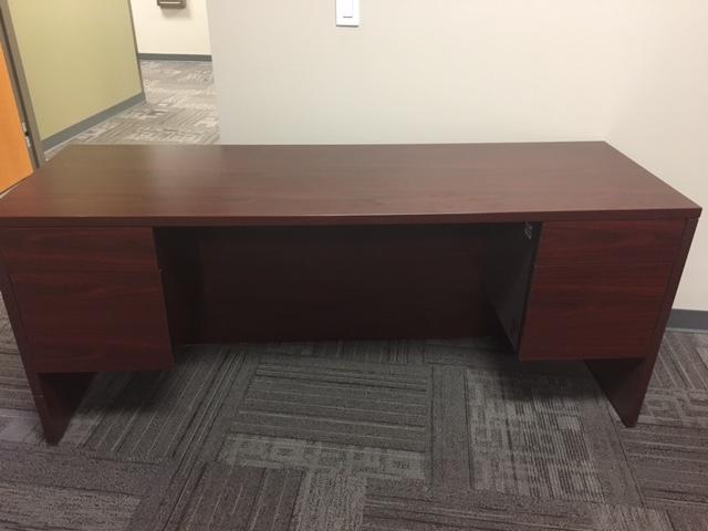Cherry wood 4 drawer executive desk