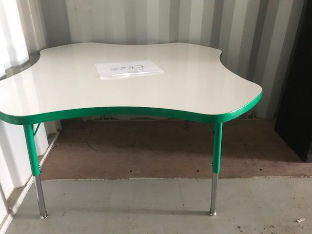 Clover table with dry erase board on top