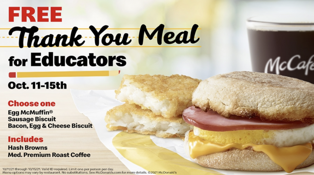 Thank You Meal for Educators from McDonalds
