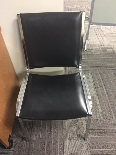 black and silver lobby chair