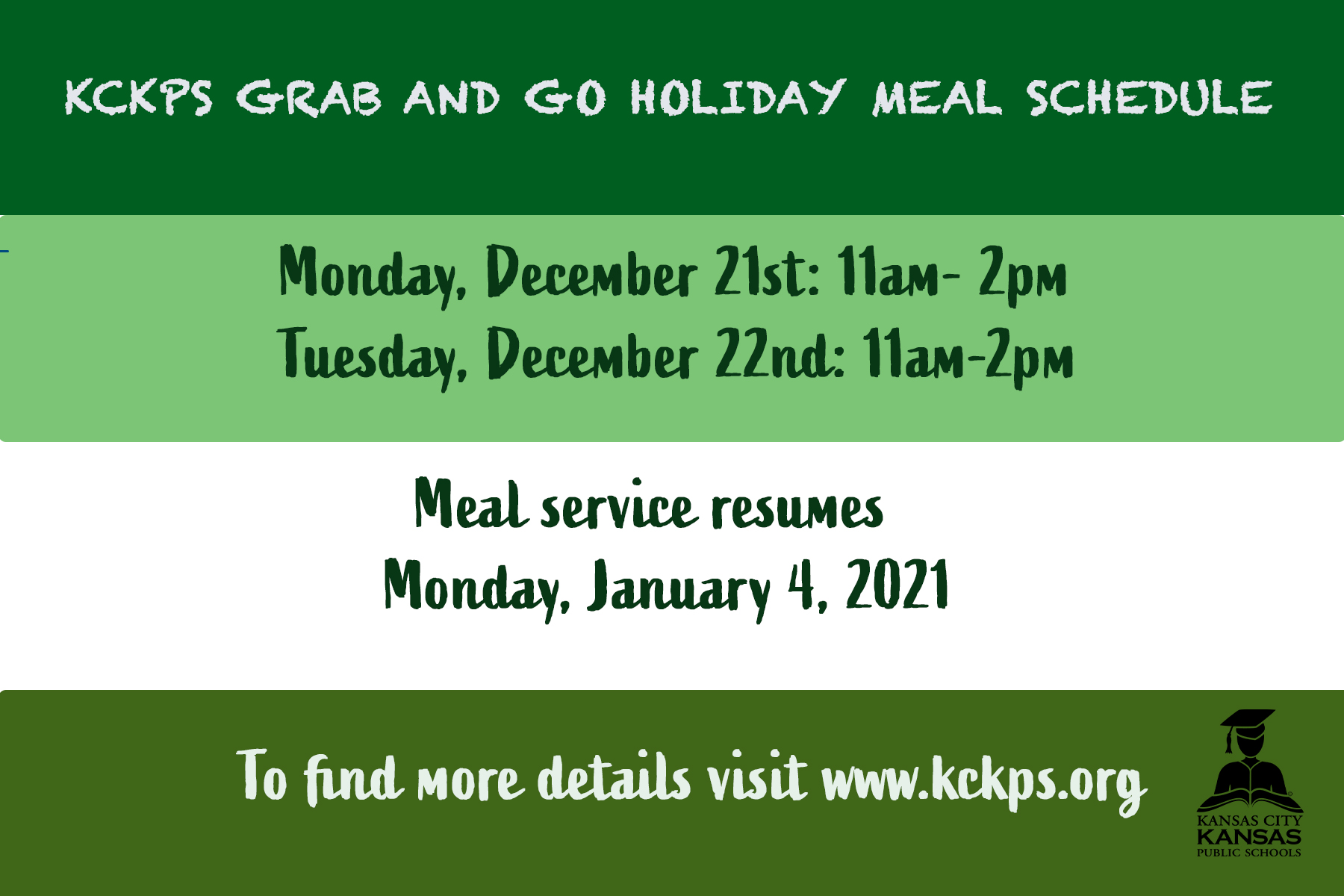Grab and Go Meals are from 11 am - 2pm on December 21 and 22. Meal Sercvice Resumes January 4, 2021